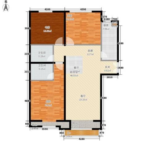 丽都壹号3室0厅2卫1厨138.00㎡户型图