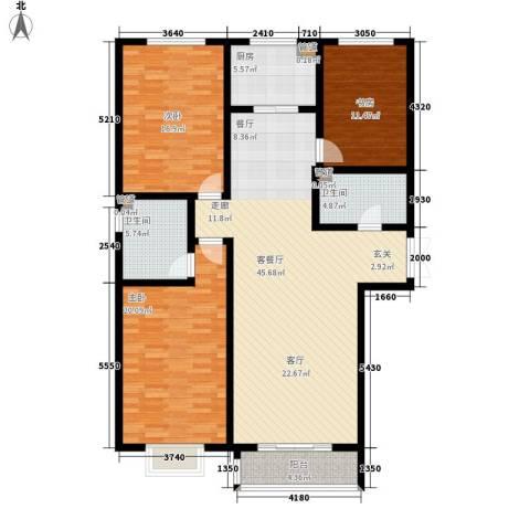 水岸茗苑3室1厅2卫1厨130.00㎡户型图