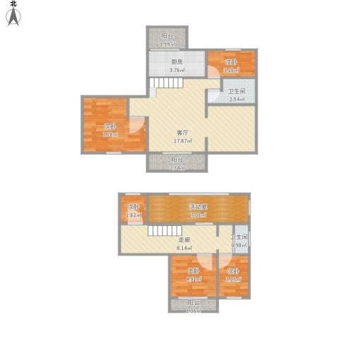恒大华城长清苑5室1厅2卫1厨94.00㎡户型图