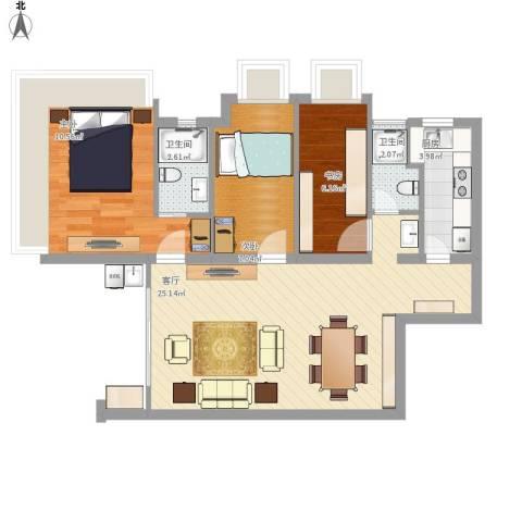 御沁园公寓3室1厅2卫1厨121.00㎡户型图