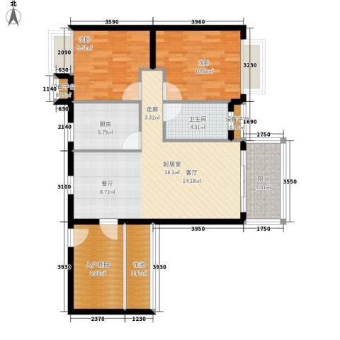 德盛南岛康城2室0厅1卫1厨87.00㎡户型图