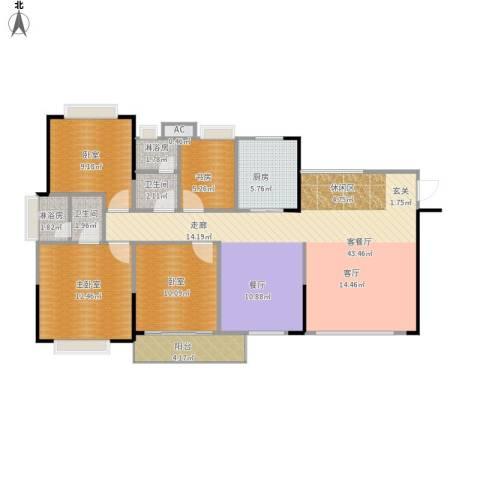 中惠香樟半岛1室1厅2卫1厨133.00㎡户型图