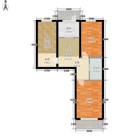 净馨家园2室0厅1卫1厨75.76㎡户型图