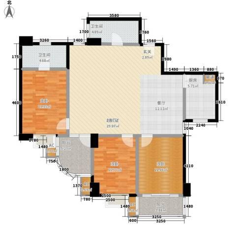 名门大厦3室0厅2卫1厨121.00㎡户型图