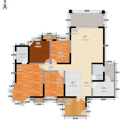 顺天黄金海岸4室0厅2卫1厨144.00㎡户型图