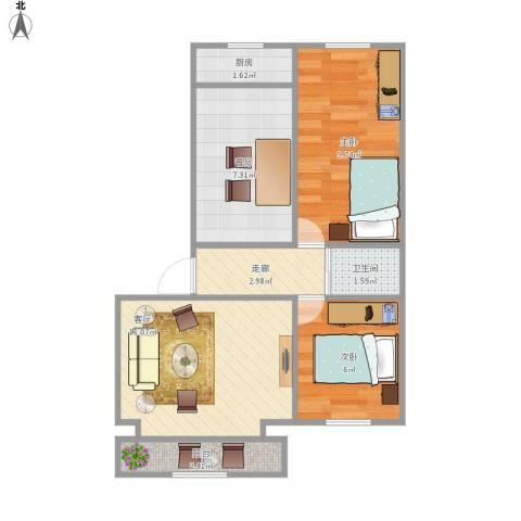 学院1号2室2厅1卫1厨59.00㎡户型图