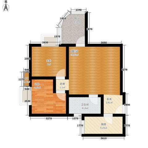 名门大厦2室0厅1卫1厨79.00㎡户型图
