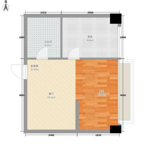 长庚老年公寓二期万华1卫1厨50.00㎡户型图