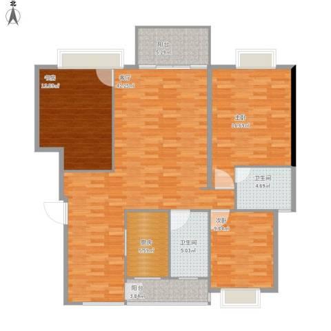 山水蓝天3室1厅2卫1厨145.00㎡户型图