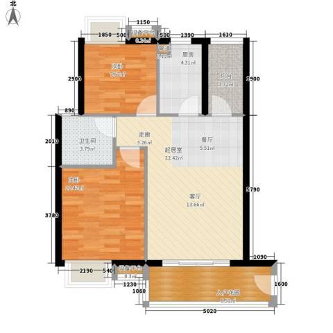 东方海岸2室0厅1卫1厨81.00㎡户型图
