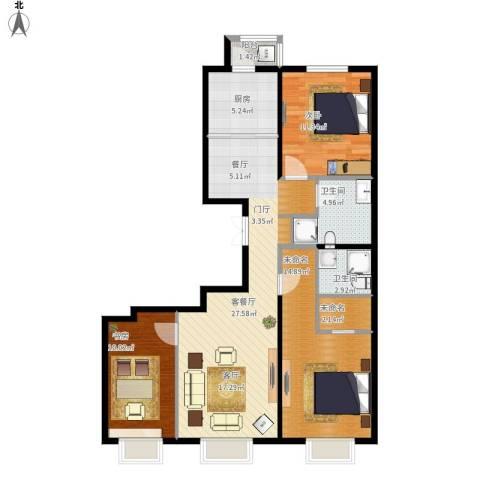 京投银泰 公园悦府2室1厅2卫1厨143.00㎡户型图