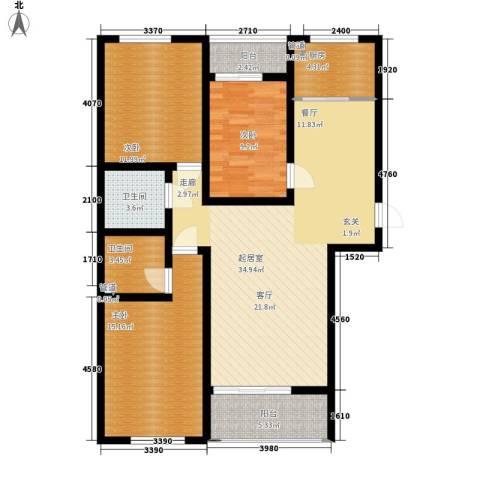 蒙鑫国际名城3室0厅2卫1厨131.00㎡户型图