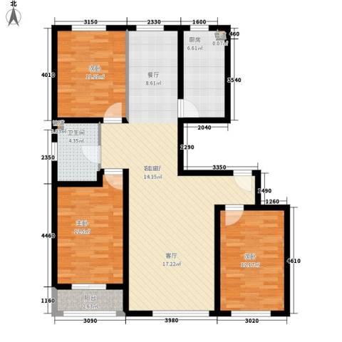变电街外贸宿舍3室1厅1卫1厨123.00㎡户型图