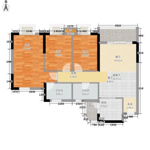宏康东筑3室1厅2卫1厨96.00㎡户型图
