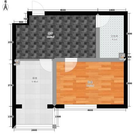 建龙第一城1厅1卫1厨57.00㎡户型图