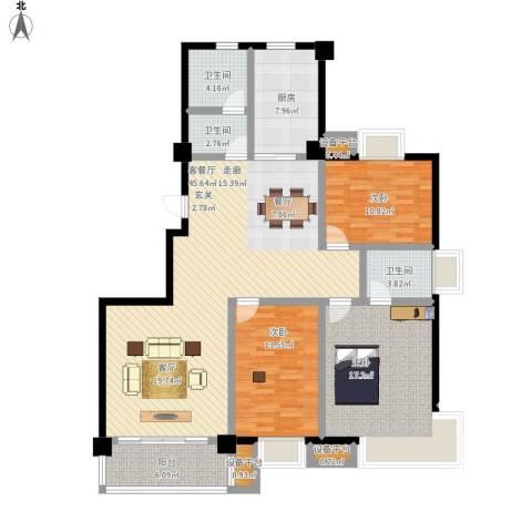 中央华府3室1厅3卫1厨165.00㎡户型图