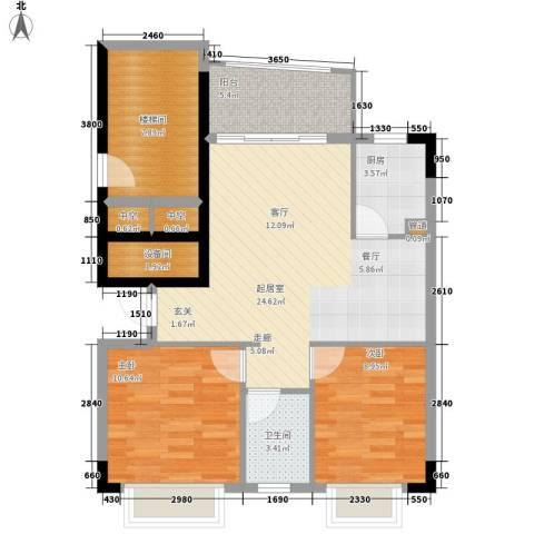 沁馥佳苑2室0厅1卫1厨78.00㎡户型图