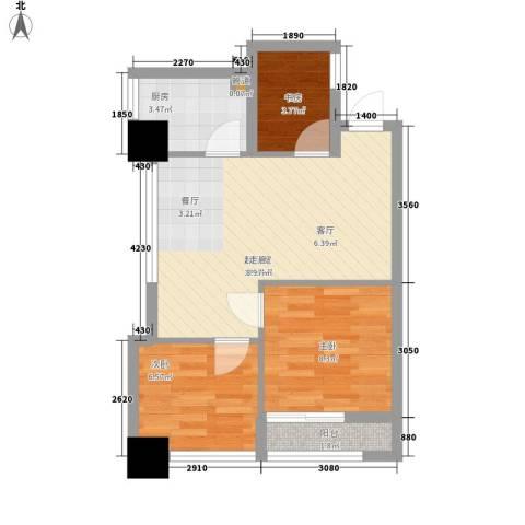 新城市广场摩尔特区3室0厅0卫1厨62.00㎡户型图