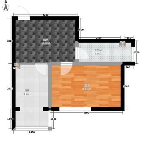 建龙第一城1厅1卫1厨54.00㎡户型图