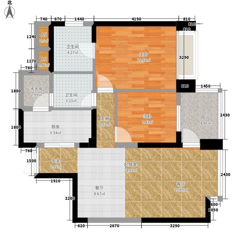 都城雅颂居92.97㎡一期1栋1单元标准层052室户型
