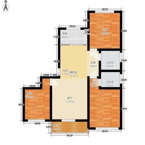 蒙鑫国际名城3室0厅2卫1厨125.00㎡户型图