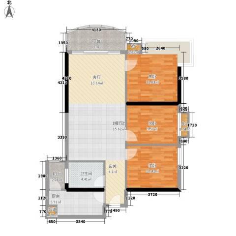 金碧花园3室0厅1卫1厨93.00㎡户型图