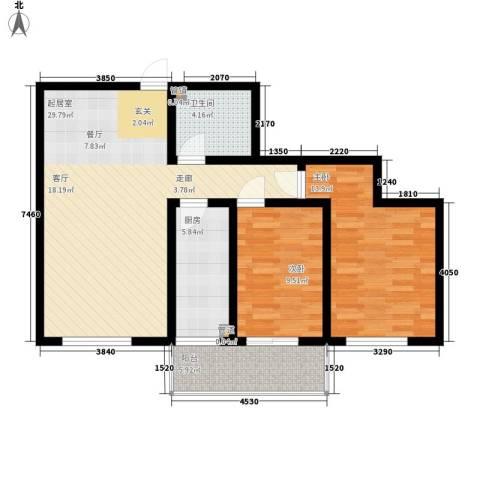蒙鑫国际名城2室0厅1卫1厨100.00㎡户型图