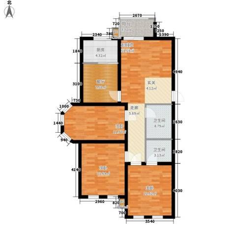 蒙鑫国际名城3室1厅2卫1厨121.00㎡户型图