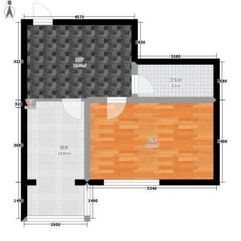 建龙第一城1厅1卫1厨64.00㎡户型图