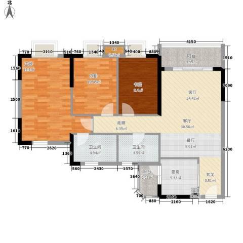 宏康东筑3室1厅2卫1厨106.00㎡户型图