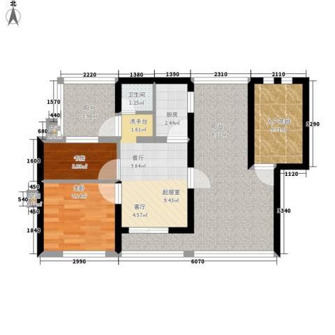 百利华府2室0厅1卫1厨62.00㎡户型图