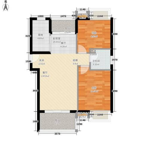 东方海岸2室0厅1卫1厨86.00㎡户型图