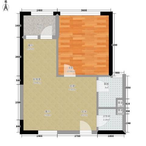建鸿达华都1室0厅1卫1厨61.00㎡户型图