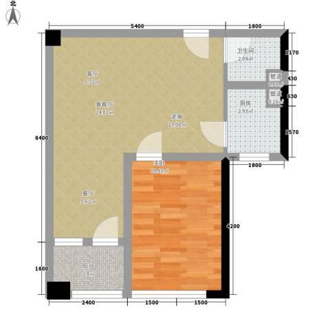 建鸿达华都1室1厅1卫1厨66.00㎡户型图