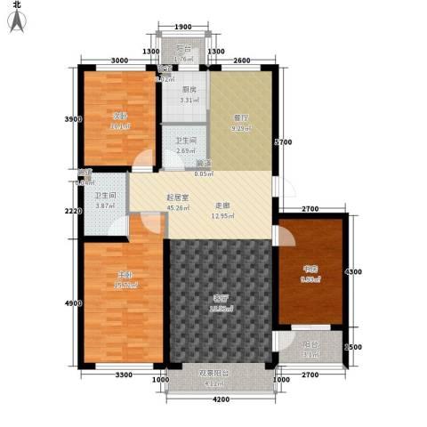 建龙第一城3室0厅2卫1厨136.00㎡户型图