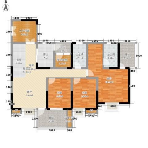 红树湾3室0厅2卫1厨126.00㎡户型图