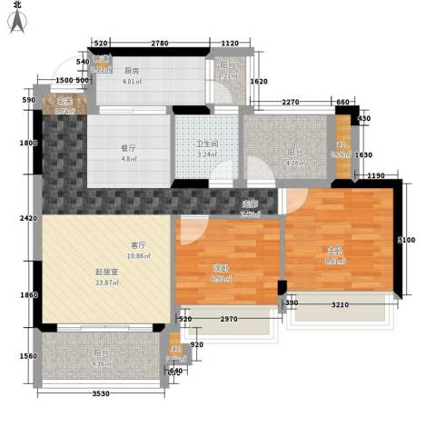 美的林城时代2室0厅1卫1厨99.00㎡户型图