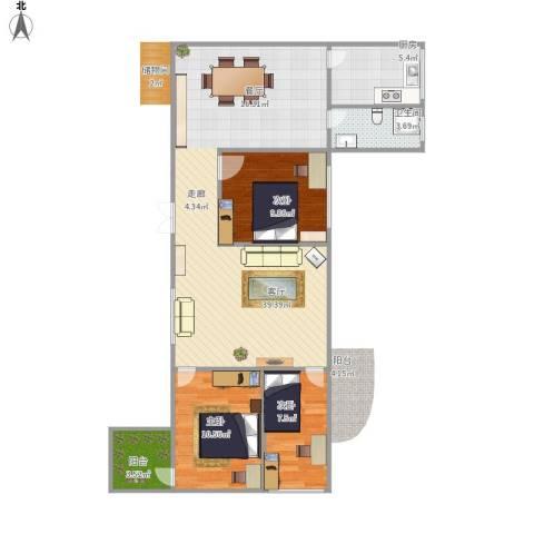 水松花园3室1厅1卫1厨108.00㎡户型图