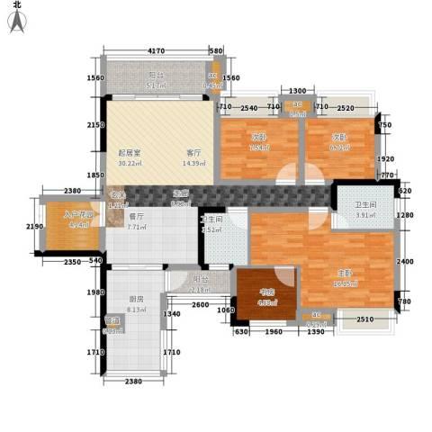 美的林城时代4室0厅2卫1厨141.00㎡户型图