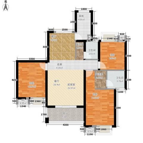 湘江世纪城咏江苑3室0厅2卫1厨128.00㎡户型图