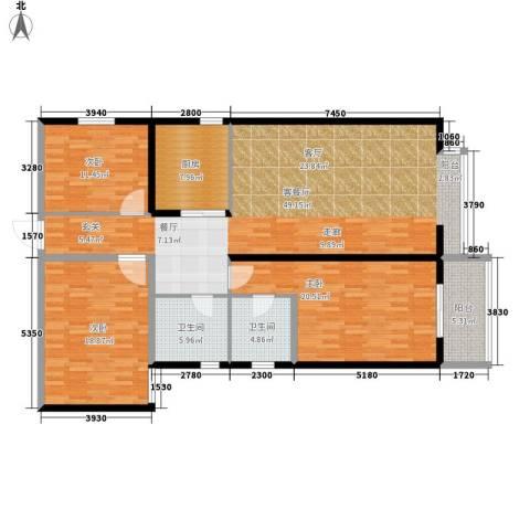 龙洲新城3室1厅2卫1厨174.00㎡户型图
