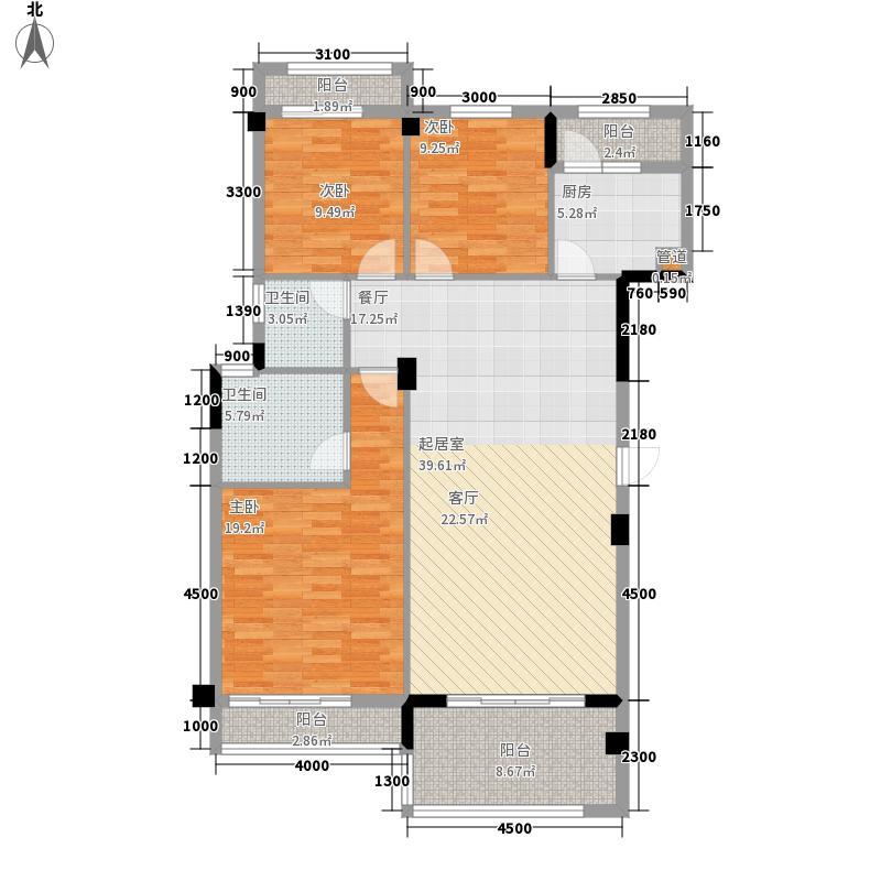 中华名园128.30㎡E+型面积12830m户型