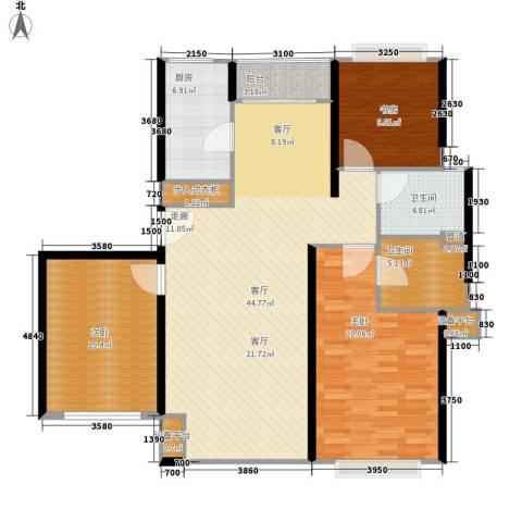 康健丽都3室1厅2卫1厨156.00㎡户型图