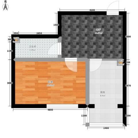 建龙第一城1厅1卫1厨52.00㎡户型图
