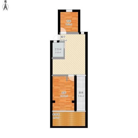 康强坊2室1厅1卫1厨86.00㎡户型图