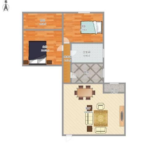 和辉花园2室1厅1卫1厨78.00㎡户型图