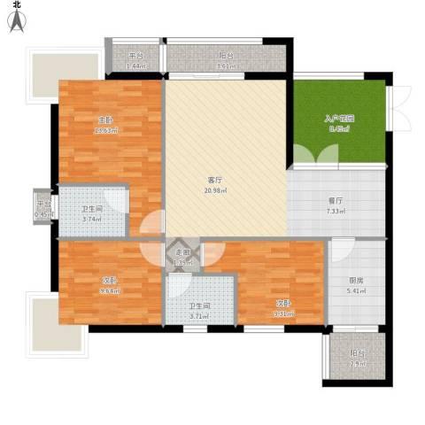 富中蝴蝶谷3室1厅2卫1厨131.00㎡户型图