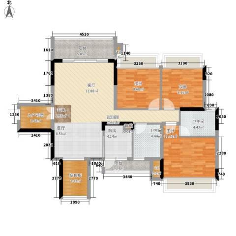 美的林城时代3室0厅2卫1厨129.00㎡户型图