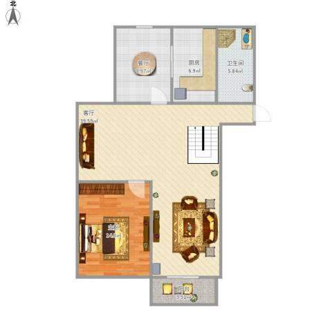燕铭华庄1室2厅1卫1厨106.00㎡户型图