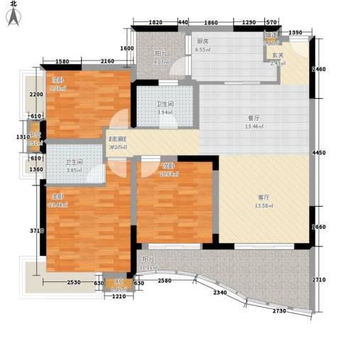 光大花园3室0厅2卫1厨116.00㎡户型图